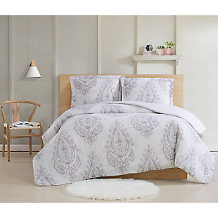 Cottage Classics Paisley Blossom 2 Piece Twin XL Comforter Set, Purple, rollover