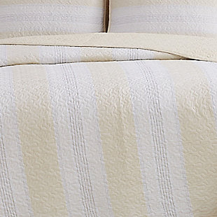 Cottage Classics Farmhouse Stripe 2 Piece Twin XL Quilt Set, Tan, large