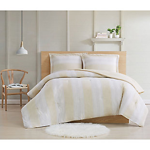 Cottage Classics Farmhouse Stripe 2 Piece Twin XL Comforter Set, Tan, large