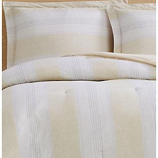 Cottage Classics Farmhouse Stripe 2 Piece Twin XL Comforter Set, Tan, large