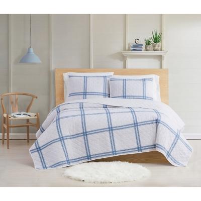 Cottage Classics Farmhouse Plaid 2 Piece Twin XL Quilt Set, Blue, large