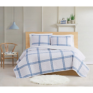 Cottage Classics Farmhouse Plaid 2 Piece Twin XL Quilt Set, Blue, rollover