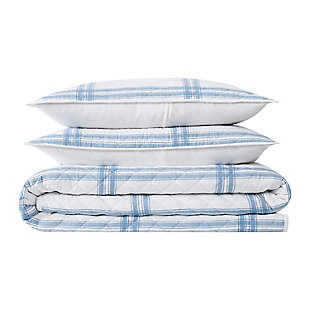 Cottage Classics Farmhouse Plaid 2 Piece Twin XL Quilt Set, Blue, large
