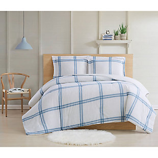 Cottage Classics Farmhouse Plaid 2 Piece Twin XL Comforter Set, Blue, large