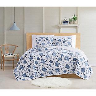 Cottage Classics Estate Bloom 2 Piece Twin XL Quilt Set, Blue, rollover