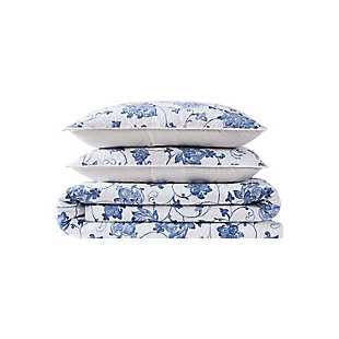 Cottage Classics Estate Bloom 2 Piece Twin XL Quilt Set, Blue, large