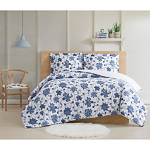 Cottage Classics Estate Bloom 2 Piece Twin XL Comforter Set, Blue, rollover