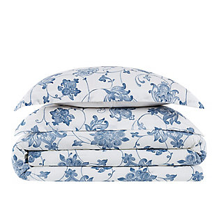 Cottage Classics Estate Bloom 2 Piece Twin XL Comforter Set, Blue, large