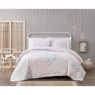 Cottage Classics Hallie Floral Cotton 3 Piece Full/Queen Quilt Set, Pink, rollover