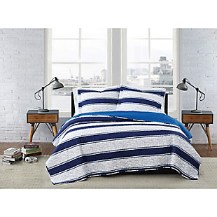 London Fog Watkins Stripe Twin XL 2-Piece Quilt Set, White/Blue, rollover