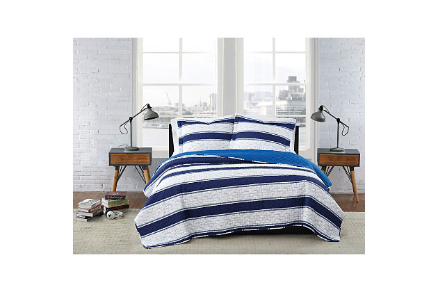 London Fog Watkins Stripe Twin XL 2-Piece Quilt Set, White/Blue, large