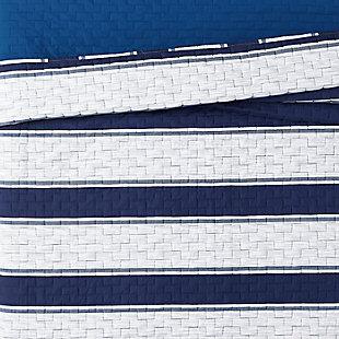 London Fog Watkins Stripe Twin XL 2-Piece Quilt Set, White/Blue, large