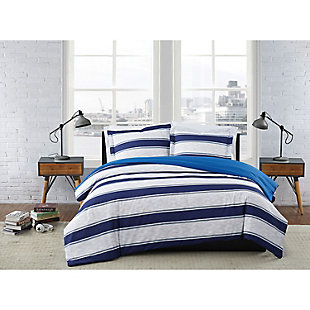 London Fog Watkins Stripe Twin XL 2-Piece Comforter Set, White/Blue, rollover