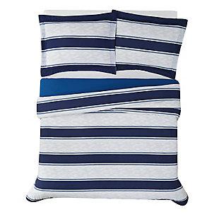 London Fog Watkins Stripe Twin XL 2-Piece Comforter Set, White/Blue, large