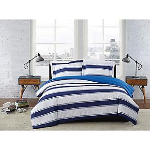 London Fog Watkins Stripe Twin XL 2-Piece Duvet Cover Set, White/Blue, rollover