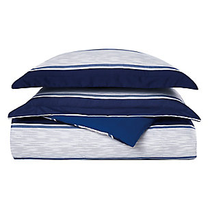 London Fog Watkins Stripe Twin XL 2-Piece Duvet Cover Set, White/Blue, large