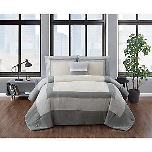 London Fog Dartford Microsuede Twin XL 3 Piece Comforter Set, Taupe/Gray, rollover