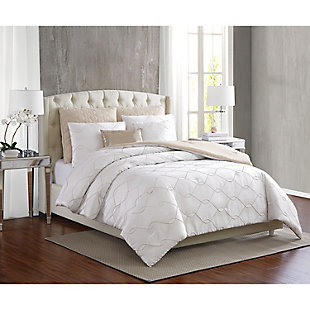 5th Avenue Lux Serafina 7 Piece Queen Comforter Set, Pearl, rollover