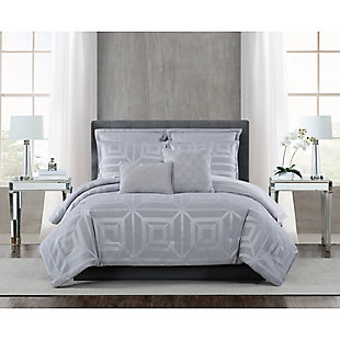 5th Avenue Lux Mayfair 7 Piece Queen Comforter Set, Gray, rollover