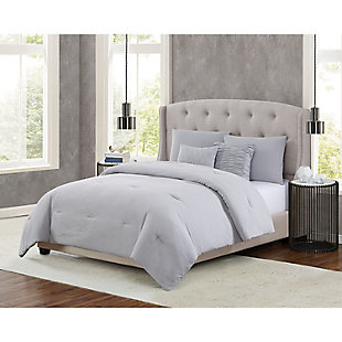 5th Avenue Lux Prism 5 Piece Queen Comforter Set, Gray, rollover