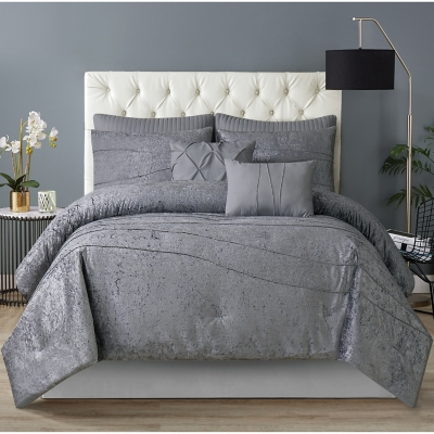 Style 212 Julienne 6 Piece Twin XL Comforter Set, Gray, large