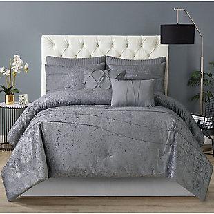 Style 212 Julienne 6 Piece Twin XL Comforter Set, Gray, rollover