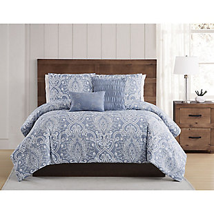 Style 212 Justine Seersucker 4 Piece Twin XL Comforter Set, Blue, rollover
