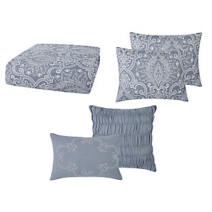Style 212 Justine Seersucker 4 Piece Twin XL Comforter Set, Blue, large