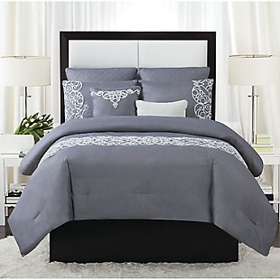 Style 212 Julia 7 Piece Queen Comforter Set, Gray, rollover