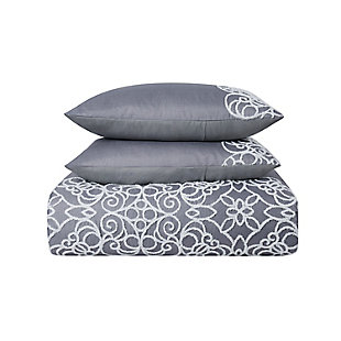Style 212 Julia 7 Piece Queen Comforter Set, Gray, large