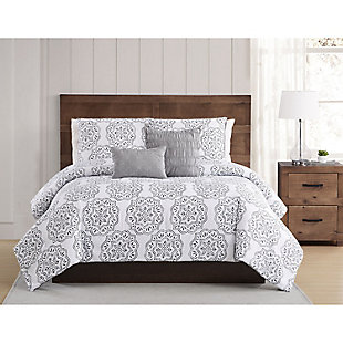 Style 212 Grace Seersucker 4 Piece Twin XL Comforter Set, White/Gray, rollover