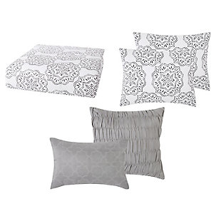 Style 212 Grace Seersucker 4 Piece Twin XL Comforter Set, White/Gray, large