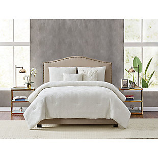 Style 212 Diamond Clipped Jacquard 5 Piece Full/Queen Comforter Set, Tan, rollover
