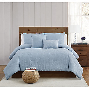 Style 212 Daisy Textured 4 Piece Twin XL Comforter Set, Blue, rollover