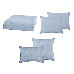 Style 212 Daisy Textured 4 Piece Twin XL Comforter Set, Blue, large