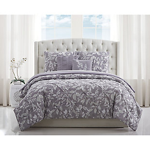 Style 212 Alexa Floral Pleated 4 Piece Twin XL Comforter Set, Purple, rollover