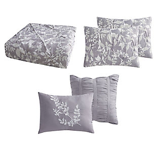 Style 212 Alexa Floral Pleated 4 Piece Twin XL Comforter Set, Purple, large