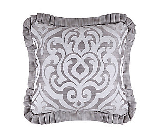 """J. Queen New York Luxembourg Silver 20"""" SquareDecorative Throw Pillow, , large"""