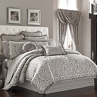 J. Queen New York Luxembourg Silver Full 4 Piece Comforter Set, Silver, large