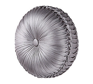 J. Queen New York Luxembourg Silver Tufted RoundDecorative Throw Pillow, , large