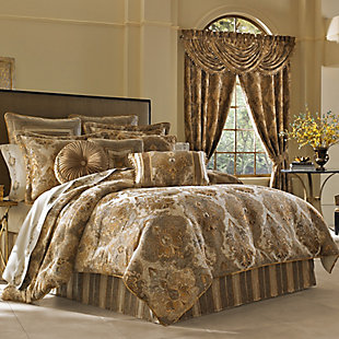 J. Queen New York Bradshaw Queen 4 Piece Comforter Set, Natural, large