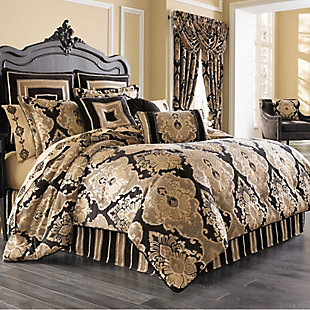 J. Queen New York Bradshaw Black Queen 4 Piece Comforter Set, Black, large