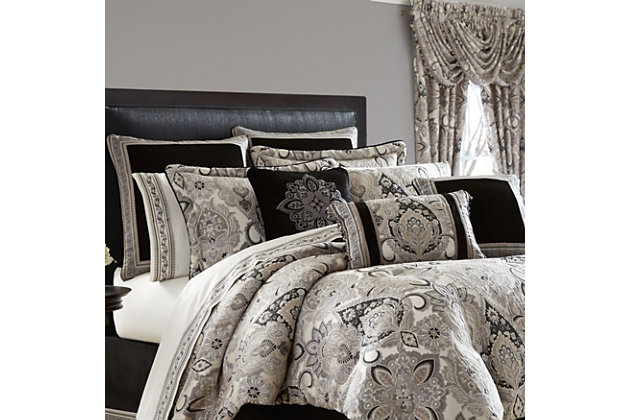 J. Queen New York Guiliana Queen 4 Piece Comforter Set, Silver, large