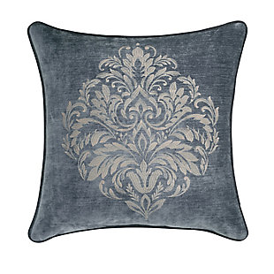 """J. Queen New York Sicily Teal 20"""" Square EmbellishedDecorative Throw Pillow, Teal, large"""