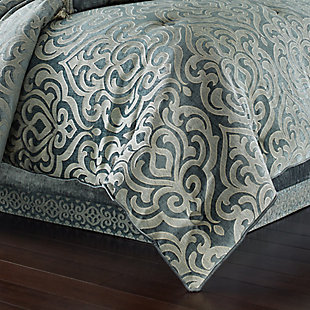 J. Queen New York Sicily Teal Full 4 Piece Comforter Set, Teal, rollover