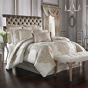 J. Queen New York La Scala Queen 4 Piece Comforter Set, Gold, rollover