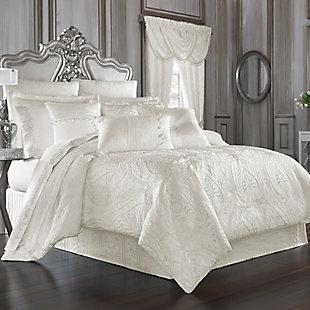 J. Queen New York Bianco Queen 4 Piece Comforter Set, White, large