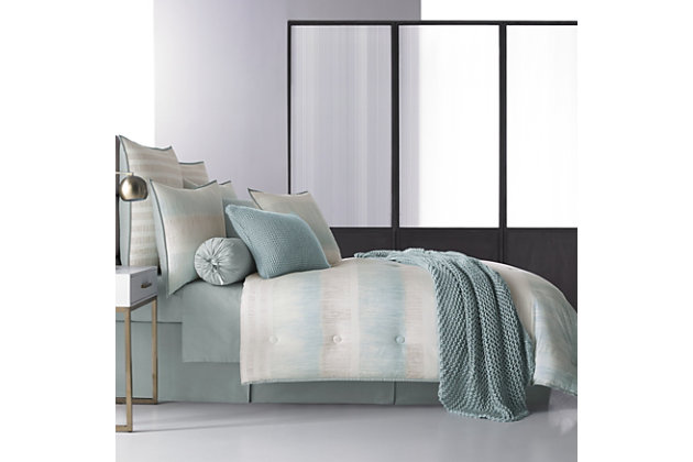 Oscar Oliver Vince Full 4 Piece Comforter Set, Aqua, large