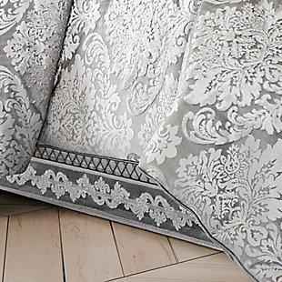 J. Queen New York Bel Air Full 4 Piece Comforter Set, Silver, rollover