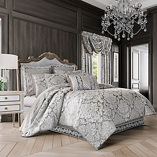 J. Queen New York Bel Air Full 4 Piece Comforter Set, Silver, large